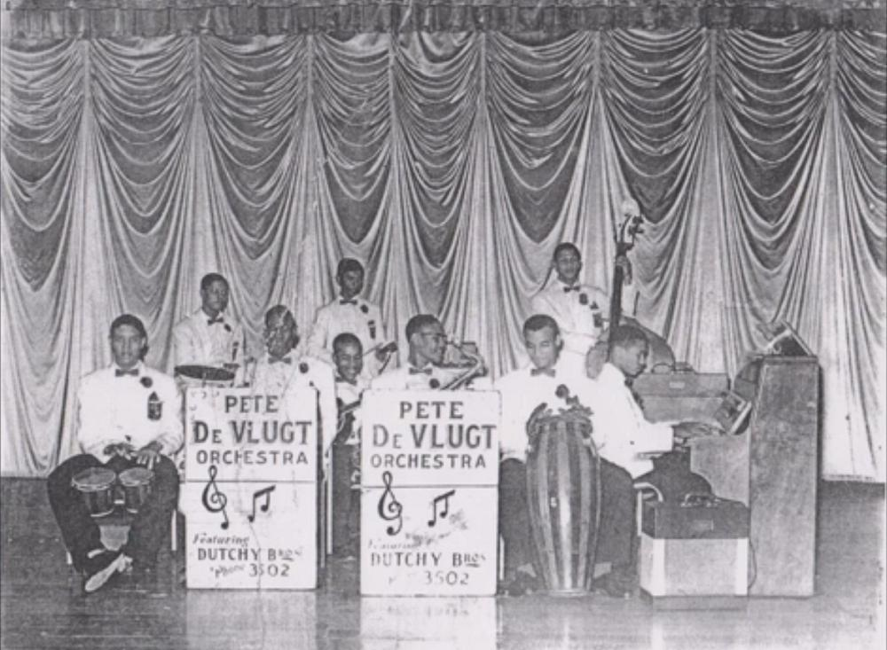 Dutchy Brothers (L-R) Orville, Rudolph, Scanterbury, Ali Ramesar (standing), Nerlin Tate (seated